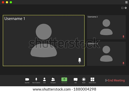 Video conference user interface. Video call screen interface template. Application for social communication.