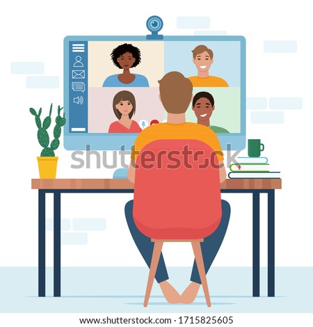 Video conference with people group. Computer screen. Man in video conference with colleagues. Home work concept. Friends talking on video. Vector illustration in flat style
