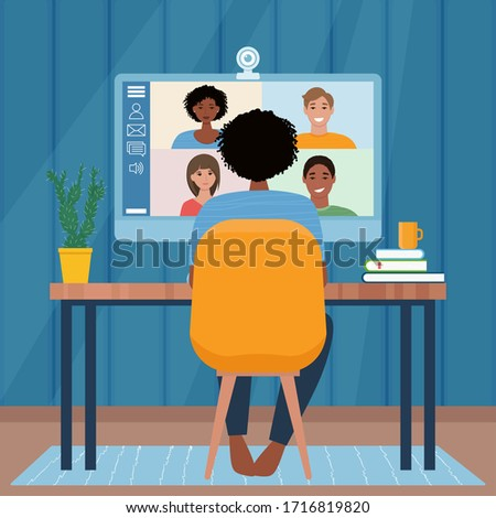 Video conference with people group. Computer screen. Woman in video conference with colleagues. Home work concept. Friends talking on video. Vector illustration in flat style