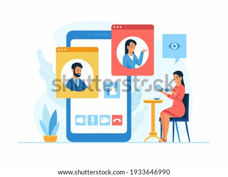 Video conferencing application. Woman drinks coffee in a cafe and communicates via video connection with colleagues using a mobile app. A man and a woman in different windows on the smartphone screen Foto d'archivio ©
