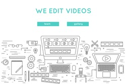 video edit and post production thin line vector banner. website design for professional movie production, film shooting, broadcast, internet posting