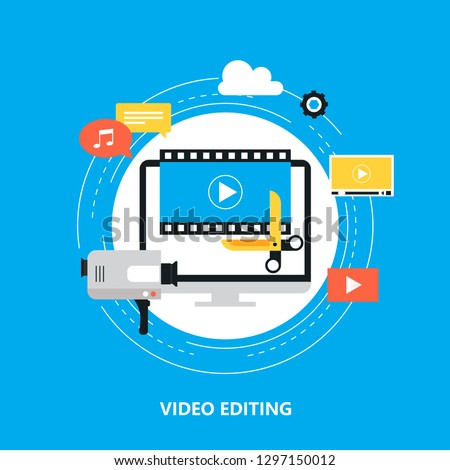 Video editing, video production, montage flat vector illustration design. Video editing tutorial design for web banners and apps