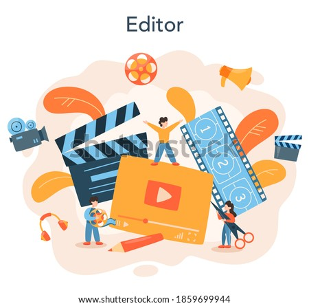 Video editor or designer. Artist create computer animation for multimedia project. Digital technology for website and advertising. Animation editor, cartoon production. Vector illustration Photo stock ©