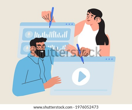 Video editor vector illustration. Creative team concept working with footage editing in online or offline software. Multimedia content production for online video blog channel or advertisement.