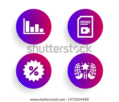 Video file, Discount and Histogram icons simple set. Halftone dots button. Ranking sign. Vlog page, Special offer, Economic trend. Laurel wreath. Business set. Classic flat video file icon. Vector