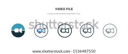 video file icon in different style vector illustration. two colored and black video file vector icons designed in filled, outline, line and stroke style can be used for web, mobile, ui