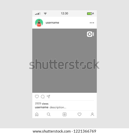 Video frame by social networks template. Male icon. Vector illustration. #1221366769