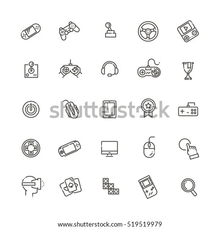 video game and joystick icons