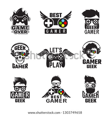 Video game badges. Joystick console controller for gaming geek vector labels
