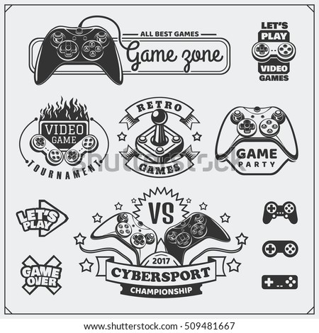 video game club emblems  labels
