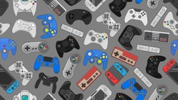 Video game controller background Gadgets seamless pattern