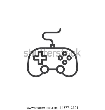 Video game controller line icon. linear style sign for mobile concept and web design. Game console joystick, gamepad outline vector icon. Symbol, logo illustration. Vector graphics