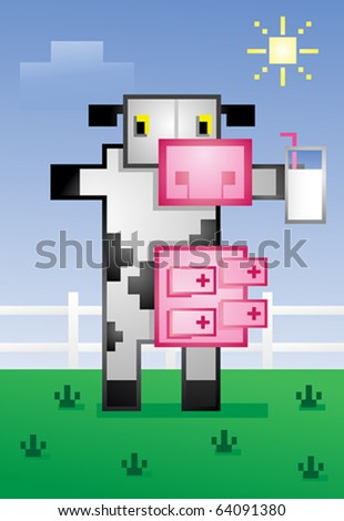 Video Game Cow Drinking Milk Cartoon Character