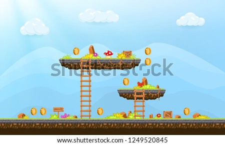 Video game. Elements and objects for computer game. Template for construction game level. Background for arcade game. Vector illustration.