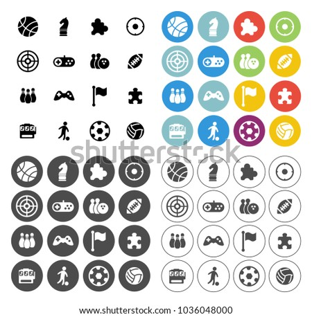 video game icons set - computer play sign and symbols