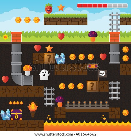 Video game interface design elements. Vector background and different blocks to construct your own game level. Vintage style game design. Underground level. Platform and arcade game design. Pixel game