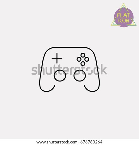 video game joystick line icon
