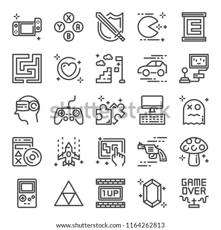 video game pixel perfect icons, vector line editable stroke (48x48)