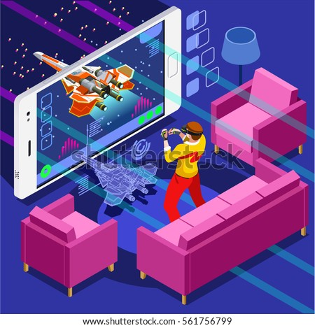video game screen and gamer