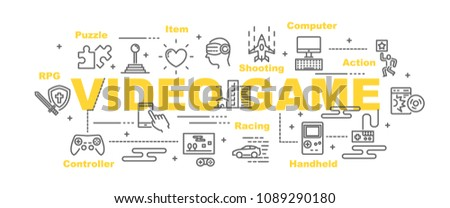 video game vector banner design concept, flat style with icons