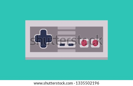 Video Game Vintage Controller Flat Vector in Blue Background - Vector