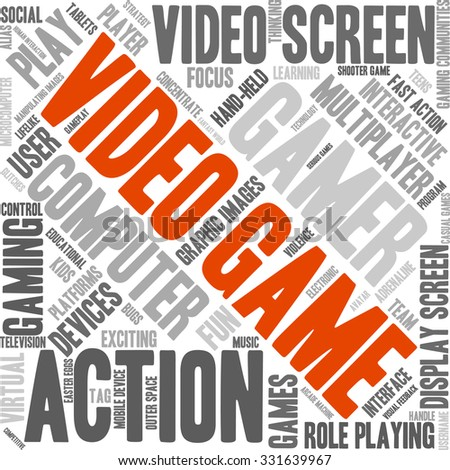 video game word cloud on a