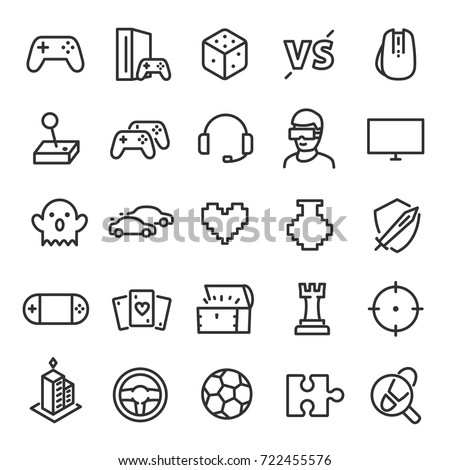 video games icon set game