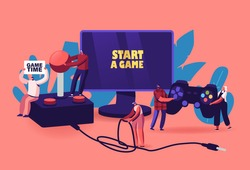 Video Games Recreation, Hobby Concept. Tiny Male and Female Characters with Huge Gamepad and Joystick Playing Videogame on Play Station Console and Computer Monitor. Cartoon People Vector Illustration