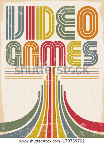 Video Games vector lettering poster card eighties video games style