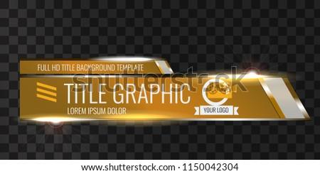 Video headline title or lower third template. Unique banner design for video. Orange color.