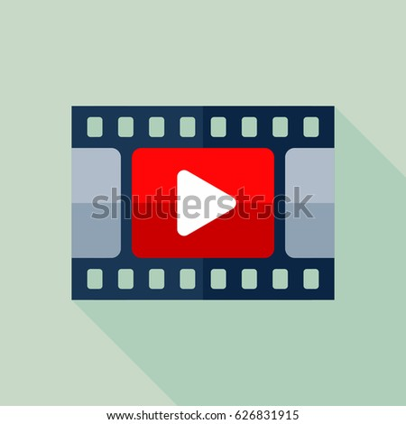Video Icon. Flat Vector Icon With Long Shadow Design Collection.
