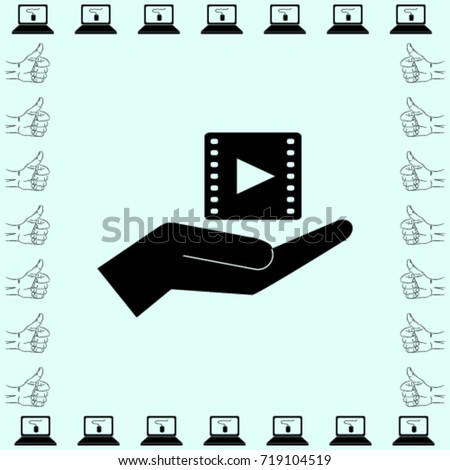 Video icon, hand vector illustration