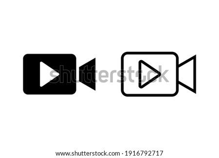 Video icon set. video camera icon vector. movie sign. cinema