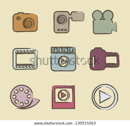 video icons over beige background. vector illustration