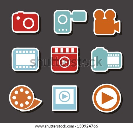 video icons over gray background. vector illustration
