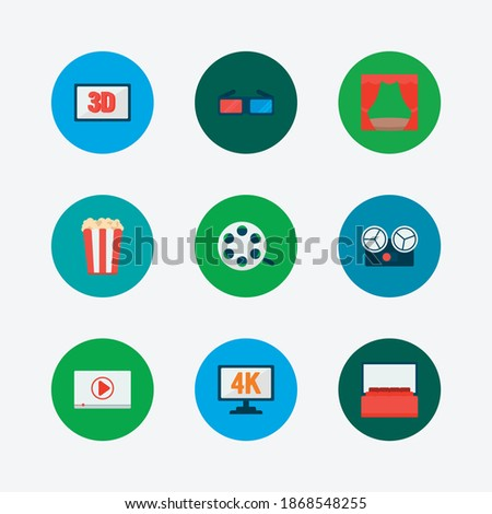 video icons set 3d glasses and