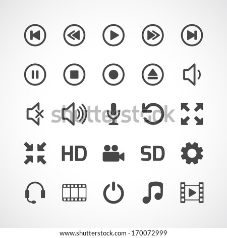 Video interface icon on white. Vector illustration