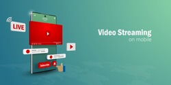 Video Live Streaming Concept, Watch and Live a video streaming on smartphone with social media, Web banner with copy space