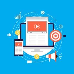 Video marketing campaign, online promotion, digital marketing, internet advertising flat vector illustration. Video tutorials, viral marketing design for web banners and apps