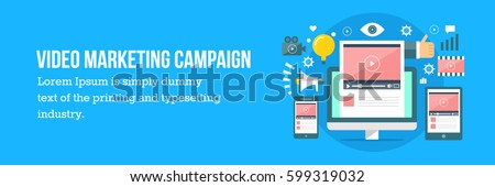 Video marketing campaign vector banner. Digital media Concept flat vector illustration