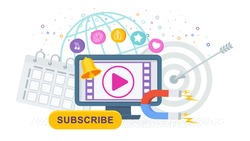 Video marketing. Computer, video channel to the Internet, subscription and alerts. Attracting new subscribers and customers. Animated advertising on the Internet. Flat vector illustration.