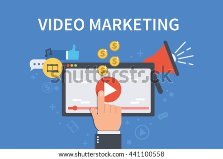 Video marketing concept banner. Vector flat illustration for web banner, infographics, hero images.