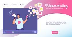 Video marketing concept. Online advertising, streaming vlog and motion graphics. Social media market vector web banner. Illustration of marketing video, internet information and vlog promotion