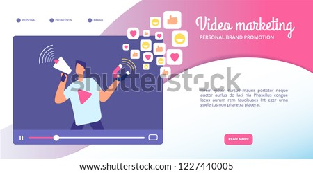 Video marketing concept. Online advertising, streaming vlog and motion graphics. Social media market vector web banner. Illustration of marketing video, internet information and vlog promotion