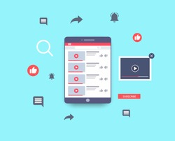 Video marketing. Tablet layout and web symbols. Video content, channel, blogging. Social media youtube concept. Vector illustration. EPS 10