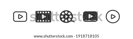 Video media play icon set, multimedia movie start push button,  player app symbol collection concept, illustration on white background.