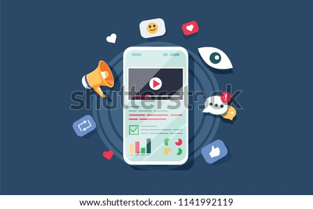 Video on mobile screen, video sharing and marketing flat vector concept with icons. Create video content and make money. Vector illustrate. Audit report and marketing data analysis concept. Website