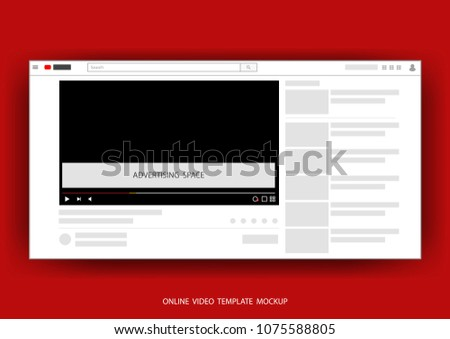 Video online channels web template mock up with space for advertising vector illustration.