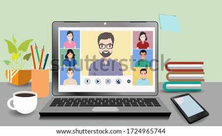 Video online conference. Video meeting of people group and interview. Online communication. Working freelance, e-learning or studying at home in laptops. Composition of pictures on the home desk.