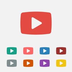 Video play button vector icon
